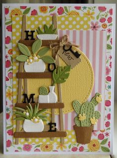 New home (scrapcard girls) – Best Home Plants Foam Crafts, Diy And Crafts, Flower Cards, Paper Flowers, Marianne Design Cards, New Home Cards, Handmade Birthday Cards, Birthday Crafts, 90th Birthday