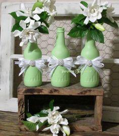 Green Bud Vase -Set of 3-Wedding Bud Vases, Baby Shower Decor, Table Center Piece, Flower Vase