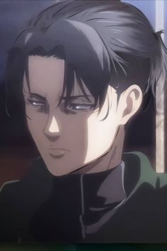 Levi with hair tied up