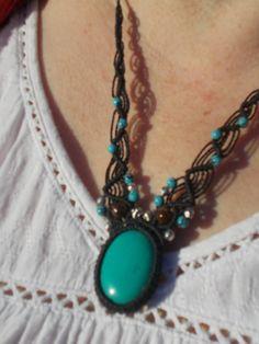 Collier turquoise fait main pour femme, collier macramé en pierre , collier  adaptable avec nœud coulissant, bijoux artisanal c48a1b72d2e1