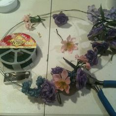 Making a floral crown.