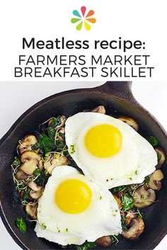 There's room for mushrooms at the breakfast table too! Add them to the menu with this quick egg skillet from My Modern Cookery. Loaded with spinach, sliced mushrooms, and sprouts, this recipe takes just 20 minutes to whip up and can easily be doubled for extra servings. #meatlessrecipe #everydayhealth | everydayhealth.com