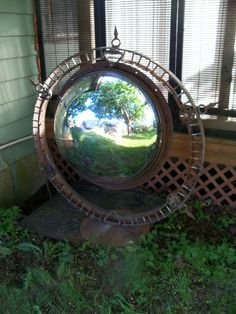 36inch garden globe made from old warehouse security safety mirror