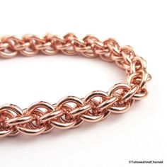 Copper chainmaille bracelet Jens Pind weave by TattooedAndChained
