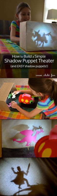 How to Build a Simple Shadow Puppet Theater (with simple foam stickers) make Krsna puppets Projects For Kids, Diy For Kids, Diy And Crafts, Craft Projects, Crafts For Kids, Shadow Puppets, Diy Toys, Craft Activities, Kids Playing