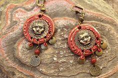 Boucles aux dragons ethniques rouille et bronze. par MesOdalisques