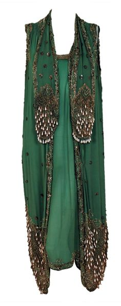 1920's Sage-Green Beaded Chiffon & Metallic Lace Flapper Dress. Front