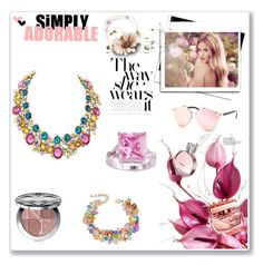 """Simply Adorable"" by lamiacara ❤ liked on Polyvore featuring Whiteley, Christian Dior, jewelry, statementnecklace, braclets, cocktailring and lamiacara"
