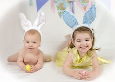 Sibling Easter Picture. Baby and Toddler Easter. Sweet Pea Photography Norwalk, Oh