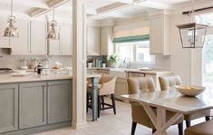 this is what I want to do in our kitchen..blue-gray base cabinets with white uppers.  :)