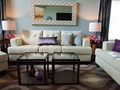 Living Room  Grays lovely...and a touch of deep purple and light steel blue.  love the vases too