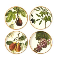 "Perfect for a wine-and-cheese party, our earthenware plates are patterned with images taken from European archival designs. Each depicts a different type of fruit, including figs, pears, olives and grapes. Use the versatile plates for serving everything from appetizers, sandwiches or salads to your favorite desserts. For creative table settings, layer the plates over any basic white or solid color dinnerware. Microwavable and dishwasher safe. 8 1/2"" diam. 2990"