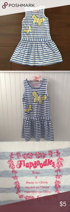 """Butterfly dress Very cute blue and white stripe summer dress with butterfly design.   No holes or stains. Normal wear. Length 25"""".   DON'T FORGET TO BUNDLE 😊  Offers are welcomed. I negotiate. Ask any questions before purchasing. Flapdoodles Dresses Casual"""