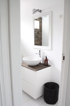 an adorable idea for a beach house bathroom. or just any kind of bathroom! love the bead board + wall color Bathroom Toilets, Bathroom Renos, Laundry In Bathroom, White Bathroom, Bathroom Furniture, Modern Bathroom, Small Bathroom, Bathroom Lamps, Small Laundry