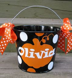 Personalized Halloween bucket designed by twosisters76 on Etsy. Just ordered one for Ella!