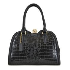 Clutch Top Croc Embossed Faux Leather Handbag MORE COLORS