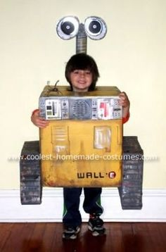Homemade Wall-E Costume: My son wanted to be Wall-E from the Disney Pixar film of the same name, more than anything. Not being particularly creative, I tried to convince him that