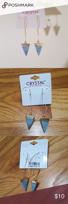 "Modern Gold Dangle Triangle Turquoise Earrings New!  Gold tone metal elongated fish hook style earrings. Painted faux turquoise blue stone triangle dangle with gold painted top.  Measures about 2.5"" in total length. Comes with rubber ends so they will stay put. Jewelry Earrings"
