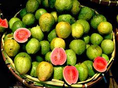 GUAYABAS or GUAVAS - are very aromatic and sweet, they can be eaten raw or cooked in sweet syrup, it also makes a delicious drink. They are a bright yellow when ripe.