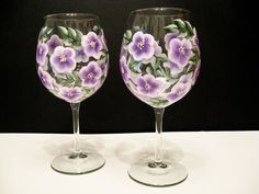 Hand Painted Lavender Wine Glasses by Allthatglass1 on Etsy, $22.00