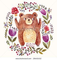 ベクトルイラスト:水彩画の技法で愛らしいクマ。 素敵なかわいいクマと美しいカード。