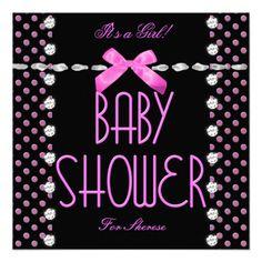 Baby Shower Girl Pink Black White Polka Dot Announcements
