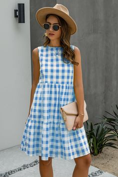 Blue Midi Dress, Plaid Dress, Nice Dresses, Casual Dresses, Summer Dresses, Free Clothes, Clothes For Women, Swing Dress With Pockets, Polyester Material