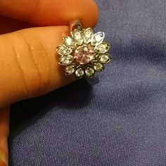 Beautiful costume ring Costume ring.  Beautiful pink glass gem and diamonds.  Size 8 Jewelry Rings