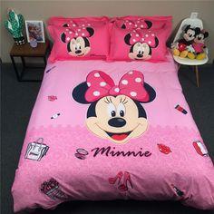Minnie cartoon comforter duvet cover bed bedding set queen king twin kids  pink girls pink and c1474b165b889