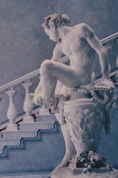 "Gustav Heinrich Eberlein (1847- 1926) Marble sculpture ""Boy removing a thorn""  1879  Old National Gallery Berlin"