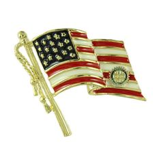 Enamel American Flag Pin with Rotary Emblem - PF356R