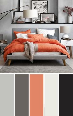 Orange and Gray Bedroom Gray orange Bedroom Color Scheme Bedroom Color Scheme Grey Orange Bedroom, Orange Bedrooms, Blue Bedroom, Modern Bedroom, Living Room Color Schemes, Apartment Color Schemes, Color Schemes With Gray, Bedroom Colour Scheme Ideas, Bed Room Color Ideas