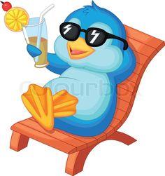 Stock vector of 'Vector illustration of Cute penguin cartoon sitting on beach chair'