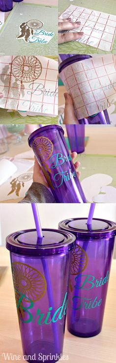 If there is one thing I love making for Bridal Parties, it is Tumblers! These Bride Tribe Tumblers are so cute and so useful for getting ready gifts,  bachelorette party favors, or even to ask your maids in the first place!