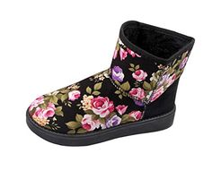 Christmas PerfectAZ Womens Fashion Gorgeous Stylish Black Suede Flower Pattern Vamper Platform Heels RoundToe SlipOn Rubber Sole Winter Warm Snow Boots 85 M US * Check out this great product.