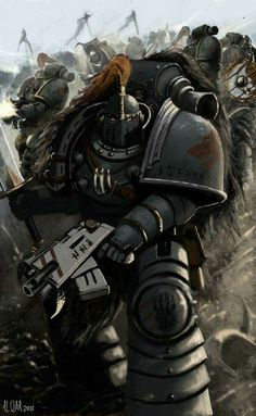 Pre-Heresy Space Wolf Legionaries in the midst of battle