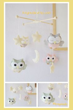 Just ADORABLE!!! Baby Crib Mobile Owl Mobile Baby Room Decor Soft by hingmade, $89.00