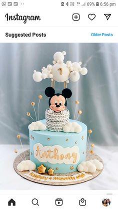 Mickey Mouse Torte, Mickey Birthday Cakes, Mickey Mouse Birthday Cake, Baby Boy 1st Birthday Party, Mickey Cakes, First Birthday Cakes, Birthday Cake Girls, Baby Mickey Cake, Disney Birthday