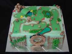 Putt Putt Cake – Gorgeous Fence Ideas and Designs Golf Themed Cakes, Golf Birthday Cakes, Golf Cakes, Celebration Cakes, Birthday Celebration, Birthday Parties, Birthday Ideas, 9th Birthday, Adventure Golf