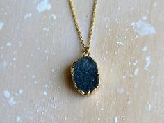 FREEFORM SMALL DRUZY Light Blue Green Gold Plated by LittleSixty