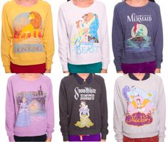 I'm totally in love with these Disney sweatshirts! I just love Disney.u can't say u don't. Disney Sweatshirts, Disney Sweaters, Disney Shirts, Retro Sweatshirts, Hoodies, Disney Outfits, Cute Outfits, Disney Clothes, Disney Fashion