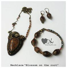 betel root flower leaf jasper crystals brown bead embroidery RebelSoulEK pendant bracelet and earrings