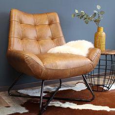 Industriële fauteuil Cole cognac leer | 100% runderleder Eclectic Furniture, Vintage Industrial Furniture, Eclectic Decor, Furniture Design, Industrial Lamps, Pipe Furniture, Bohemian Living Rooms, Colourful Living Room, Living Room Decor