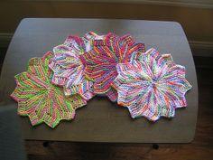 Petal dishcloths..fun to knit..free pattern