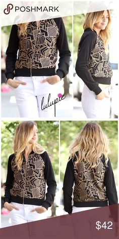 """Black and Gold Bomber Jacket Kick off the fall/winter season in this unique stylish black bomber jacket featuring gold color abstract patterns. Made of 96/4 polyester-spandex material for that added stretch. Finished with a gold color zipper and a thick bottom hemline. MADE IN USA 🇺🇸  Measurements laying flat Small Bust 17""""/ length 21""""  Medium Bust 18.5""""/ length 21.5"""" Bchic Jackets & Coats"""
