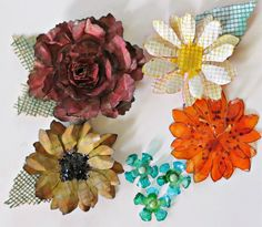 Hi Scrappy folks!! I love making my own handmade flowers. Tim Holtz has a Challenge up on his blog to make some. Go Here>>> Tattered Floral ...