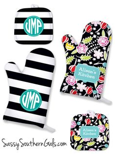 Monogrammed / Personalized Oven mitts and pot holders make for a great house warming gift, Christmas Gifts or Wedding Gifts also! Tons of patterns to choose from at www.SassySouthernGals.com ~ Monogrammed Gifts & Accessories