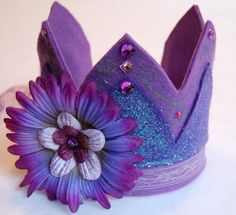 custom tri purple fancy felt birthday crown by feltedkitten Purple Lace, Purple Flowers, Aqua Party, Tiara, Birthday Badge, Felt Crown, Purple Birthday, 6th Birthday Parties, Crown Headband