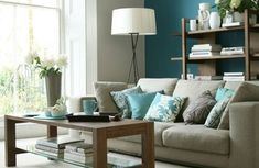 Teal-aqua accents against nuetrals. calming, not boring.  decorating ideas for living rooms in color | 20+ Living Room Decorating Ideas in Teal Color > Living Room ...