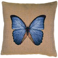 Blue Butterfly Tapestry Pillow Cover